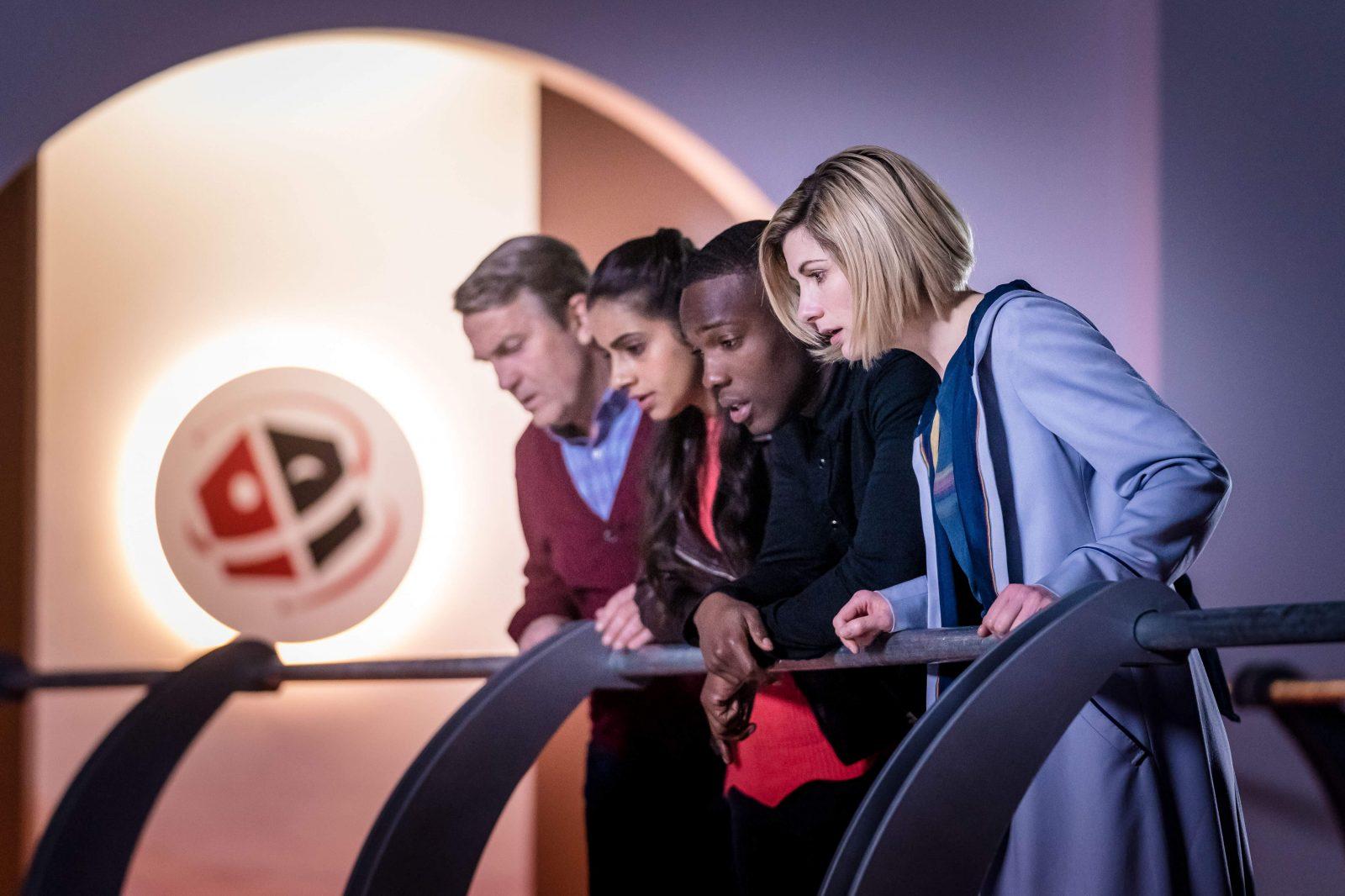 The TARDIS team in Kerblam! Image: BBC/BBC Studios