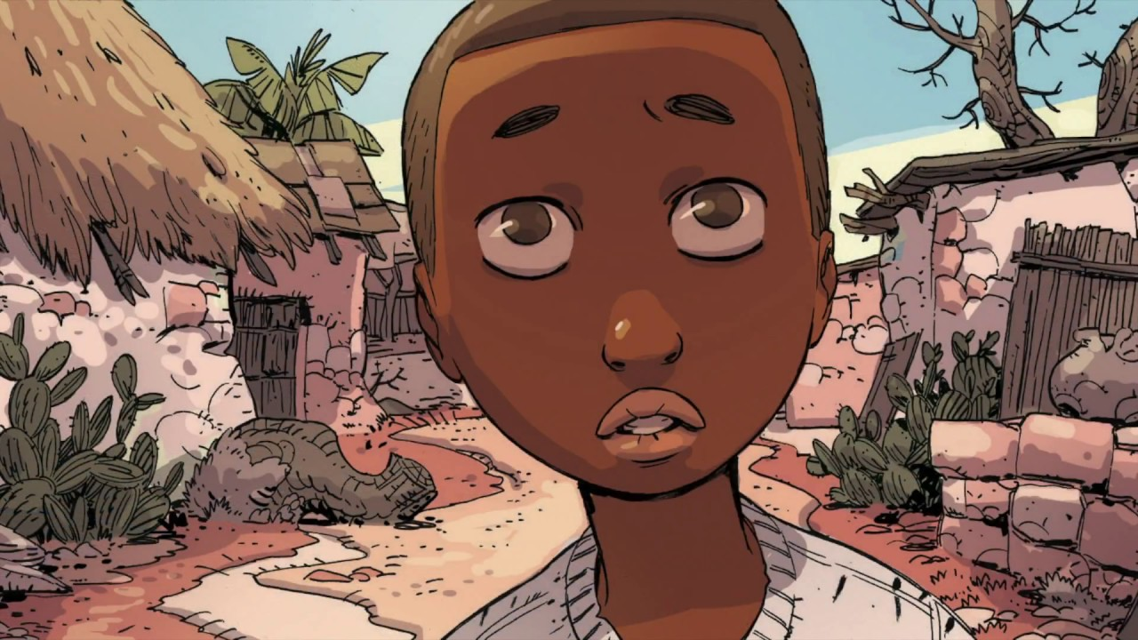 "A panel from ""Illegal"" the graphic novel by writers Eoin Colfer and Andrew Donkin, and artist Giovanni Rigano"