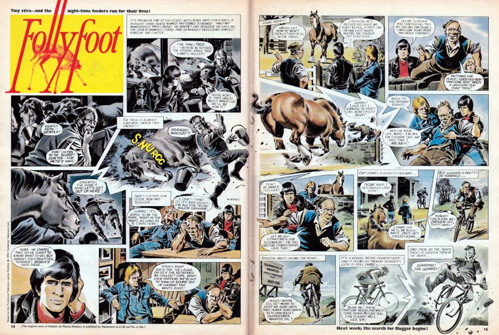 """A typically accomplished episode of """"Follyfoot"""" for Look-In by Mike Noble (Issue 11, 1972). With thanks to Lew Stringer"""