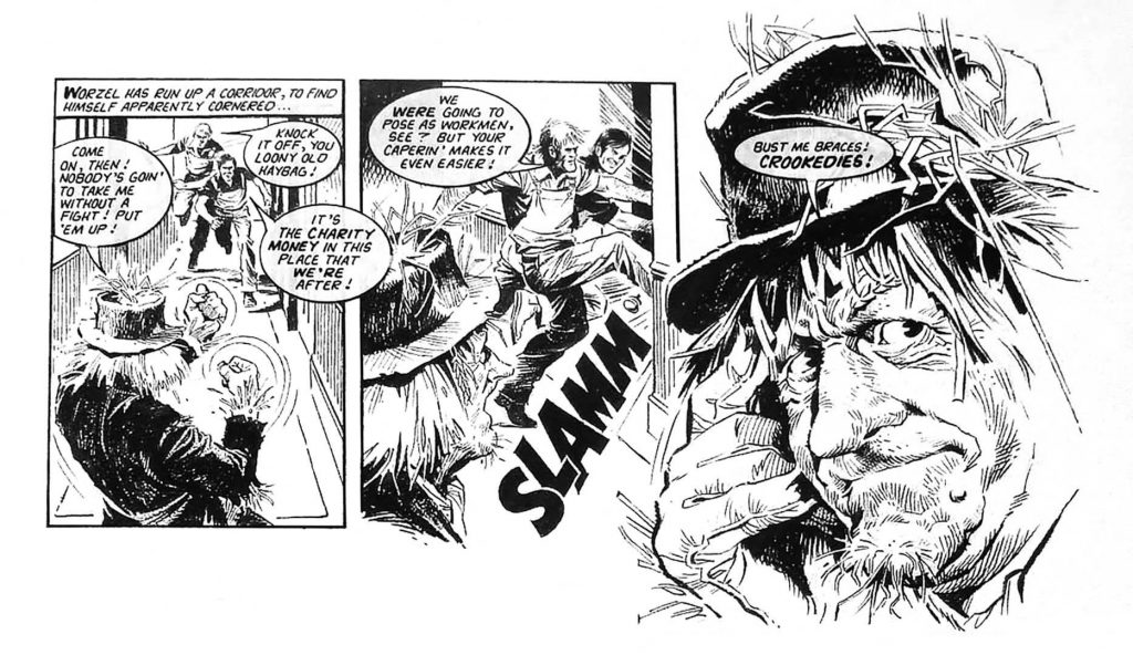 """Mike drew the majority of Look-In's """"Worzel Gummidge"""" strips, bringing his flair for action and portraiture to Scatterbrook's unruly scarecrow. The artist was generous enough to share his memories of Worzel for """"The Worzel Book"""", by Stuart Manning, back in 2016, and was, the publishers say """"enthusiastic and incredibly modest about his work""""."""