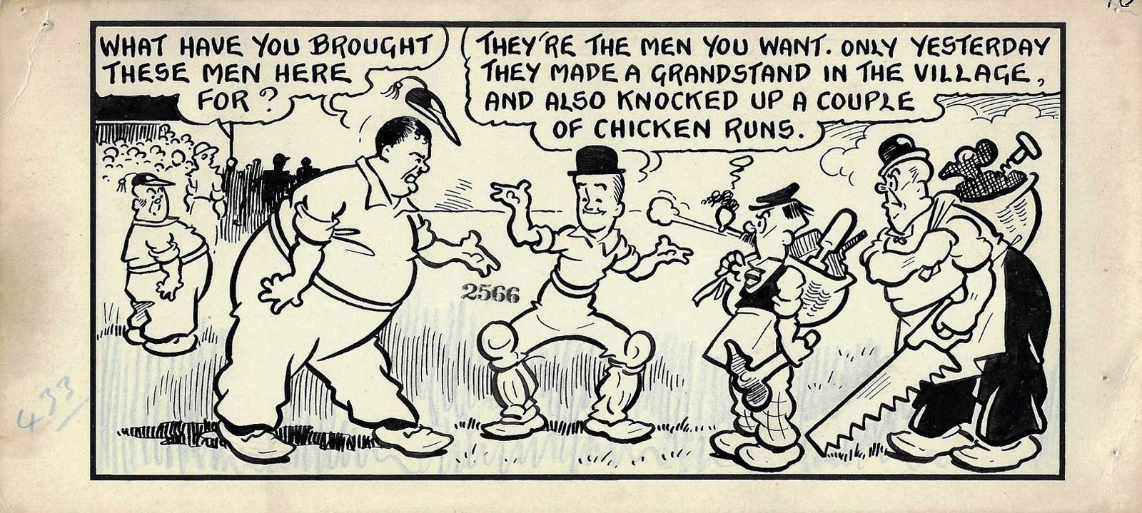 "A panel from a ""Laurel and Hardy"" story for Film Fun published in 1938"