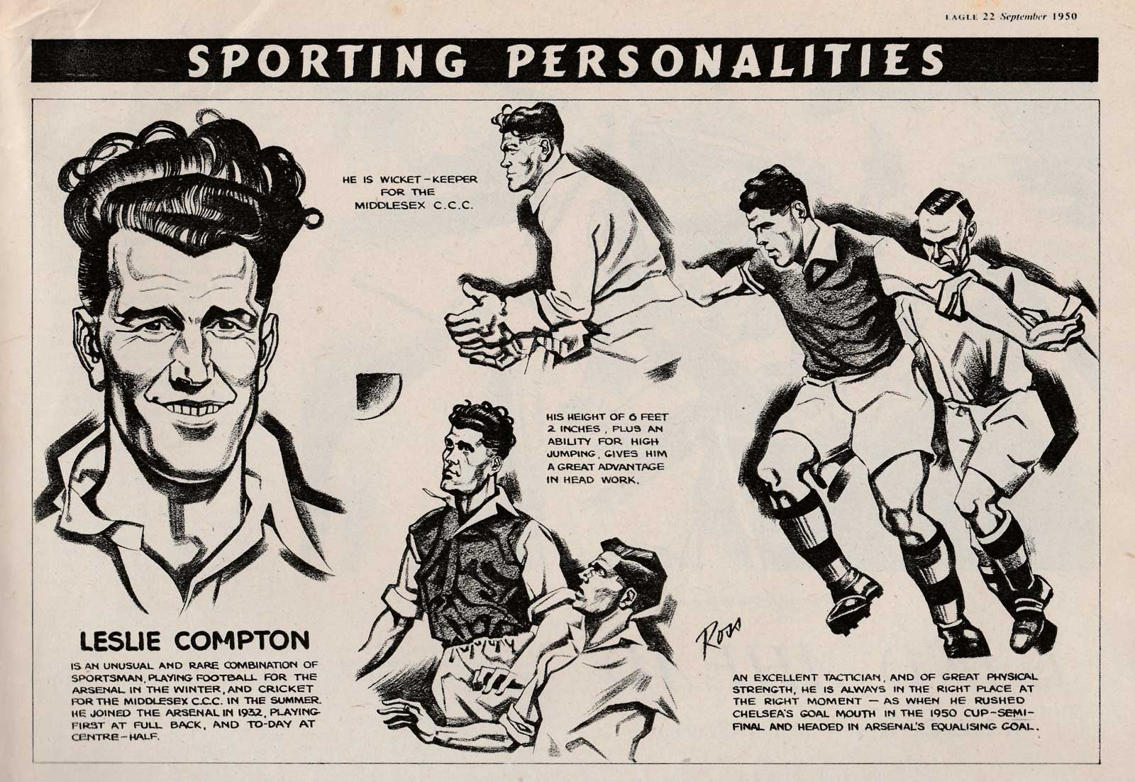 Eagle Sporting Personalities by Ross - Rom Smith - Eagle 22 September 1950
