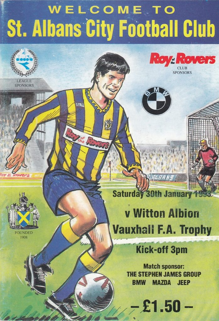 The art on this programme for St Albans Football Club Programme for Saturday 30th January 1993 may be by Barrie Mitchell