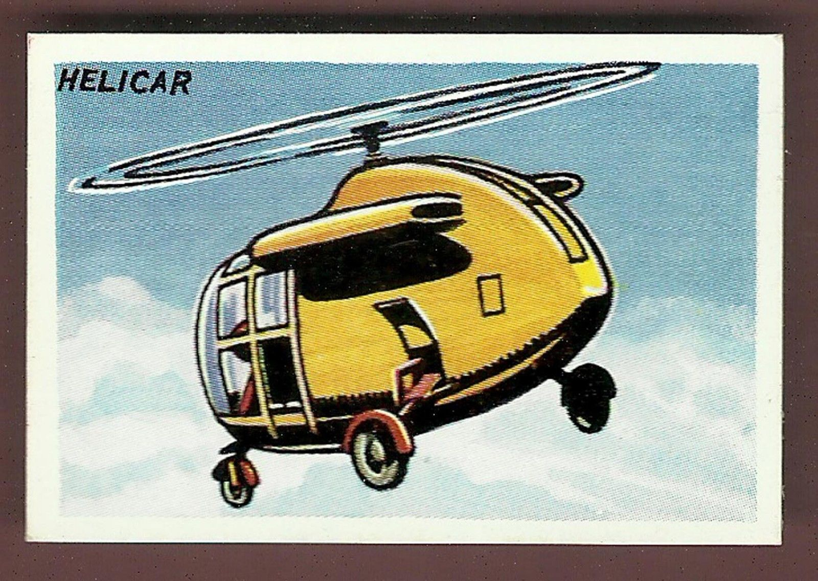 The Spacefleet Helicar, as released for the Dan Dare Picture Card series released by Calvert in 1954. Via EBay