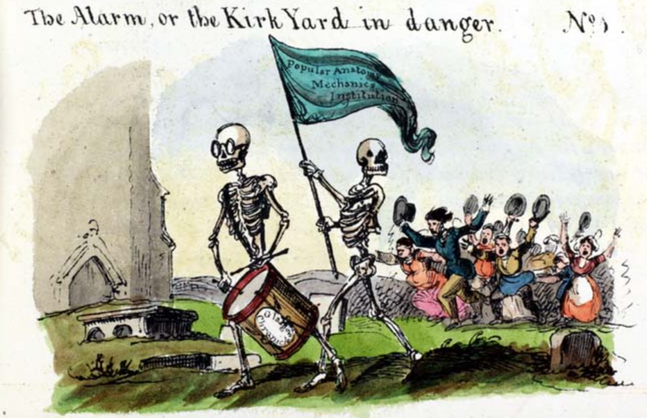 """An image from the """"Looking Glass"""" accompanying an 1825 piece on the grave-robbing problem"""