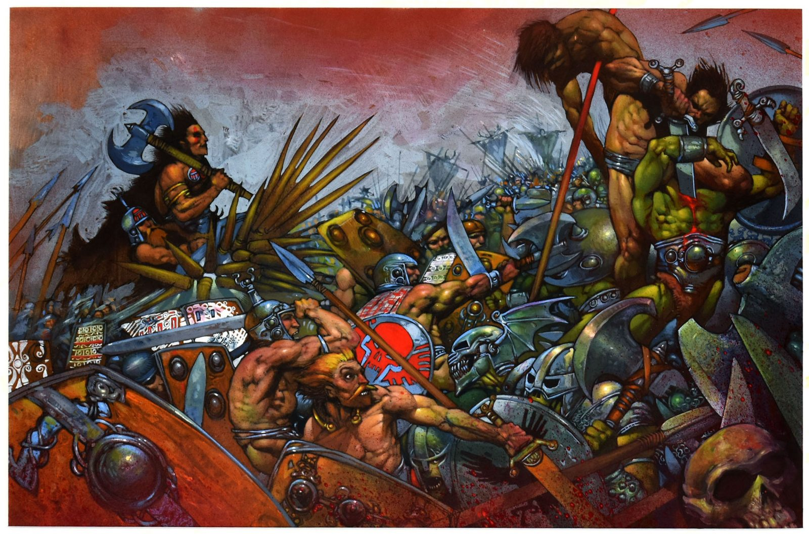 Simon Bisley illustrated this sensational Slaine illustration in mixed media on heavy illustration paper. This colourful example of Bisley's work features a highly detailed medieval battle scene. This large piece looks amazing in person.