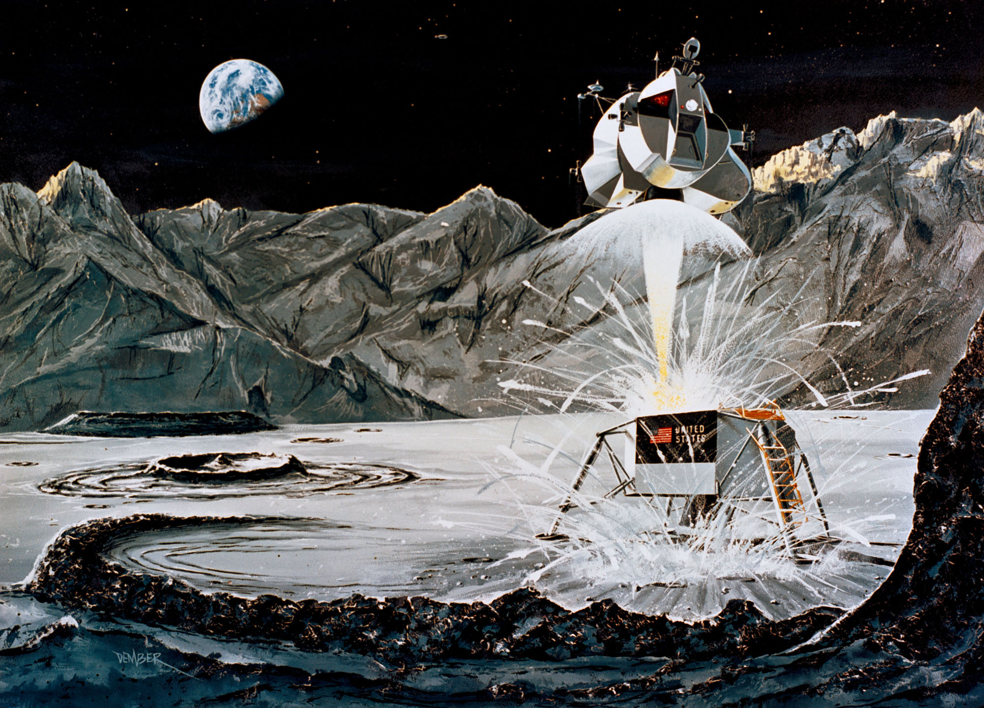 1969 Rocketdyne concept depicting the firing of the ascent engine as the Apollo 11 Lunar Module ascent stage launches from the surface of the moon. The descent stage serves as a launch base and remained on the lunar surface.Image: NASA