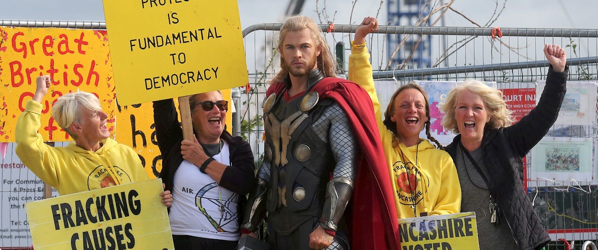 """Thor"" with protestors against fracking on Preston New Road in August 2019. Image courtesy Madame Tussauds Blackpool"