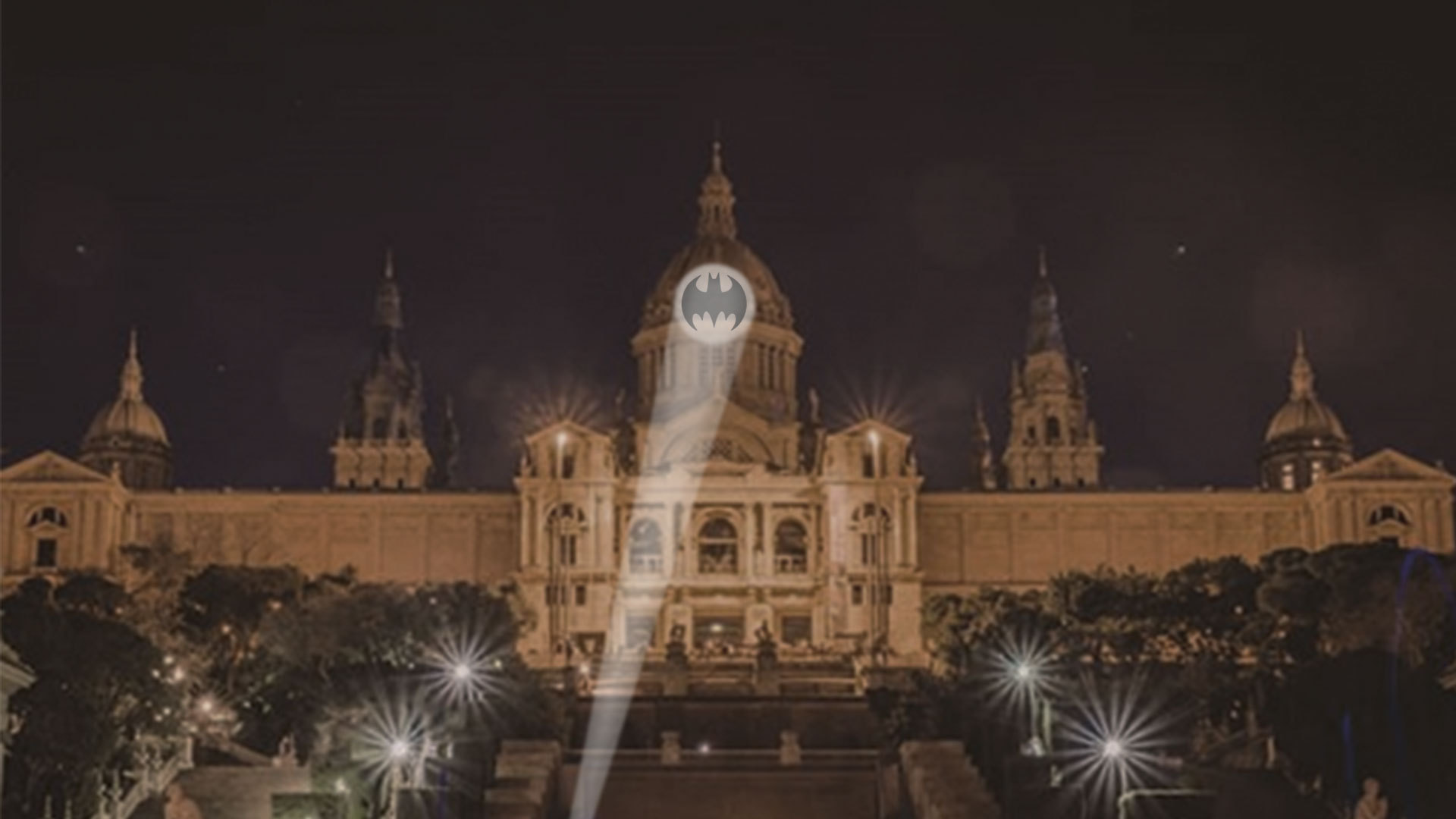 Rendering of what the Bat-Signal will look like on Barcelona's Museu Nacional d'Art de Catalunya on 21st September 2019 at 8.00pm local time. Photo: Business Wire