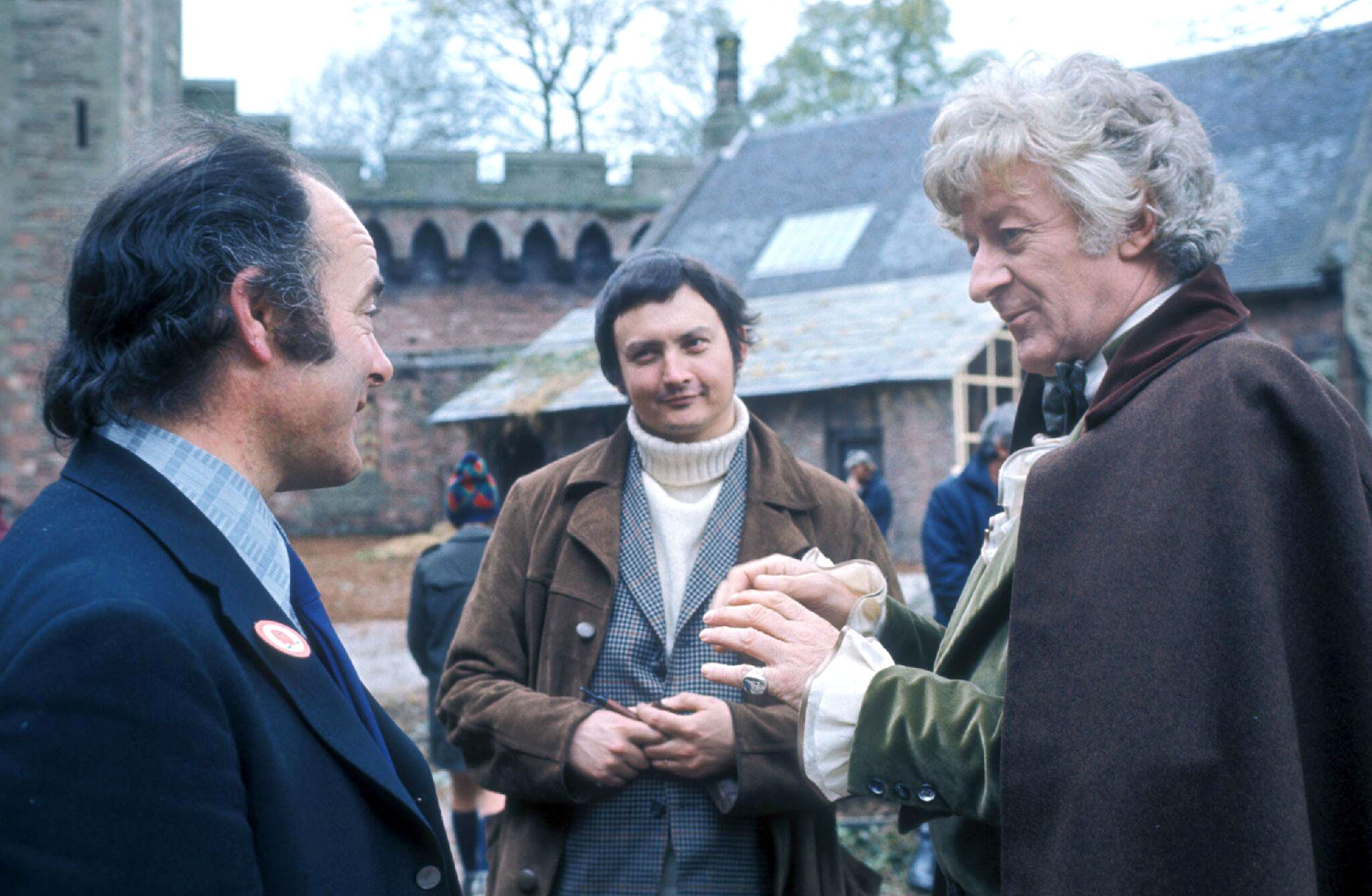 "Terrance Dicks (centre) on location during recording of the Doctor Who story ""The Time Warrior"". Photo: BBC"