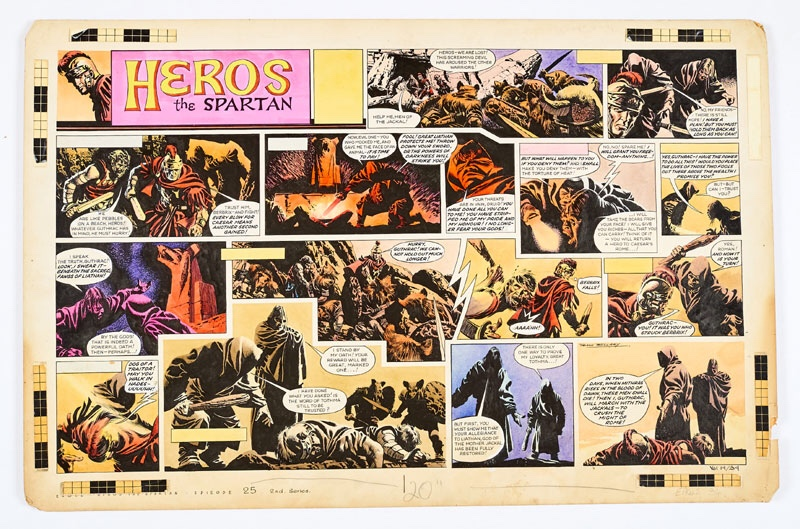 Heros The Spartan double-page original artwork(1962) painted and signed byFrank Bellamyfor The Eagle Vol. 14, No 34, 1962. The Men of the Jackal's screaming warriors attack Heros, Berbrix and their small band as the traitor, Guthrac, strikes… Bright Pelikan inks on board. 27 x 18 ins