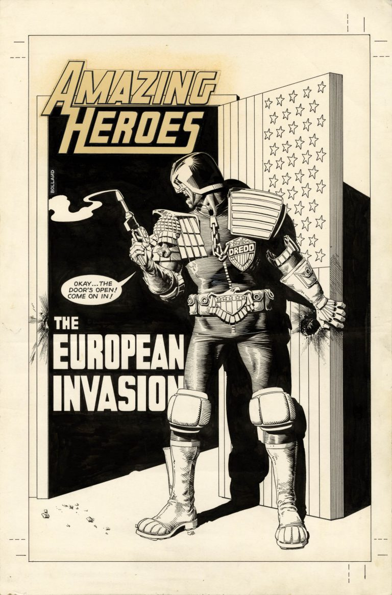 Amazing Heroes #52 Cover featuring Judge Dredd by Brian Bolland