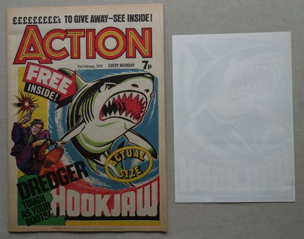 Action Issue 2, cover dated 21st February 1976, with Hookjaw transfer gift