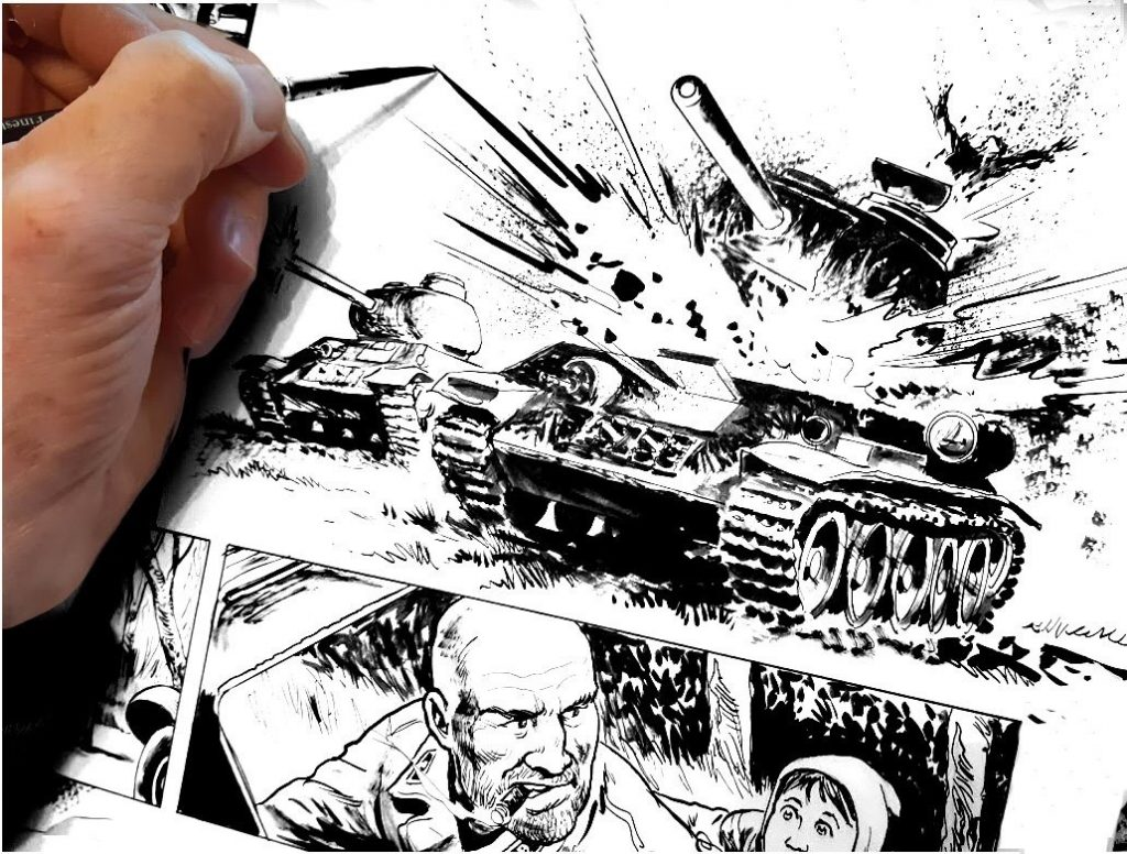 "Artist Mike Dorey at work on the all-new ""Hellman of Hammer Force"" strip by Garth Ennis, for the Action 2020 Special - out in March"