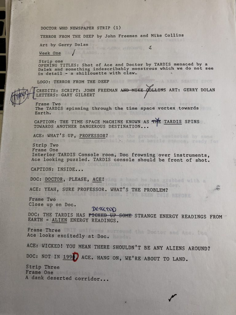 Doctor Who Newspaper Strip - Terror from the Deep - Script Sample Page 1