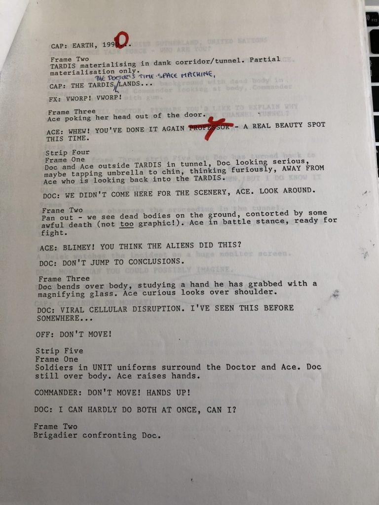 Doctor Who Newspaper Strip - Terror from the Deep - Script Sample Page 2