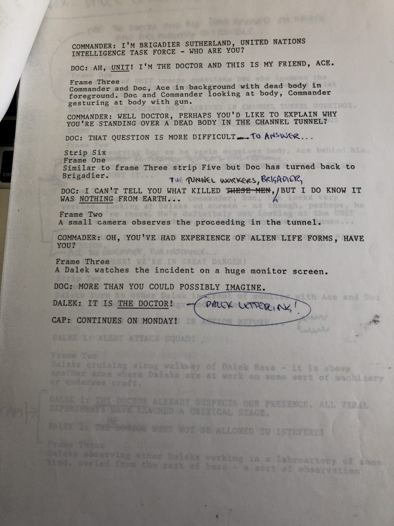 Doctor Who Newspaper Strip - Terror from the Deep - Script Sample Page 3