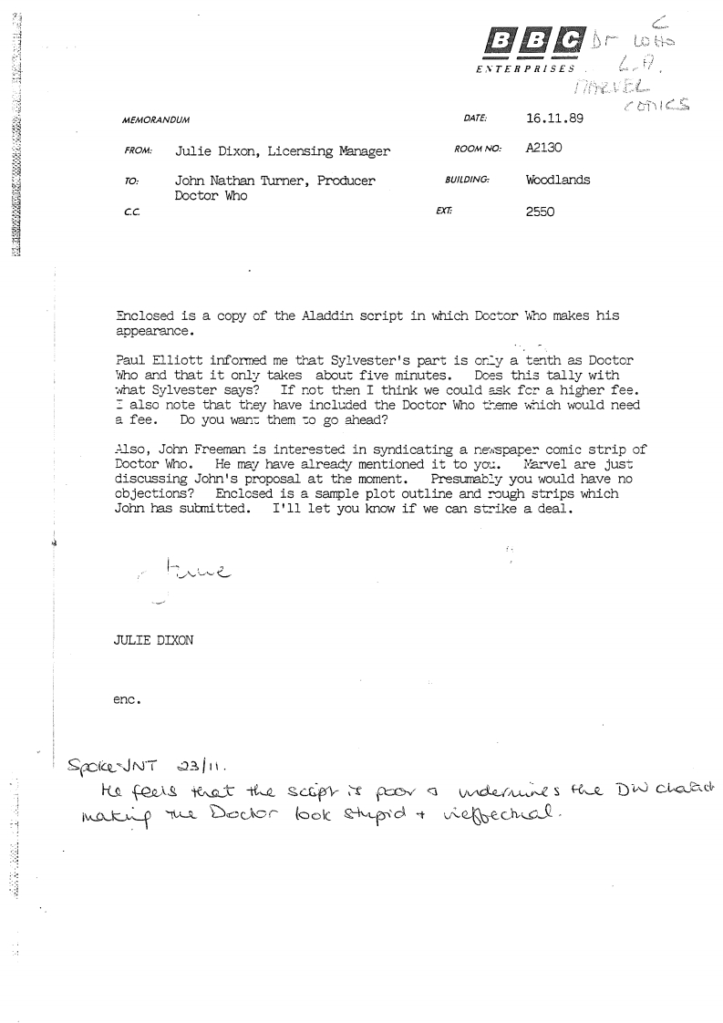 BBC Enterprises note to then Doctor Who producer John Nathan-Turner about a possible cameo for Doctor Who in a pantomime, and the Doctor Who newspaper strip proposal