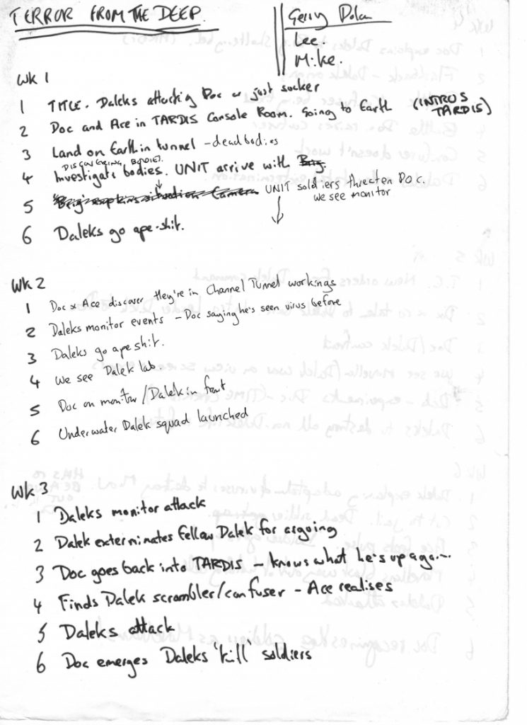 """A hand-written outline for early episodes of """"Terror from the Deep"""", a Doctor Who newspaper strip written by John Freeman in 1989"""