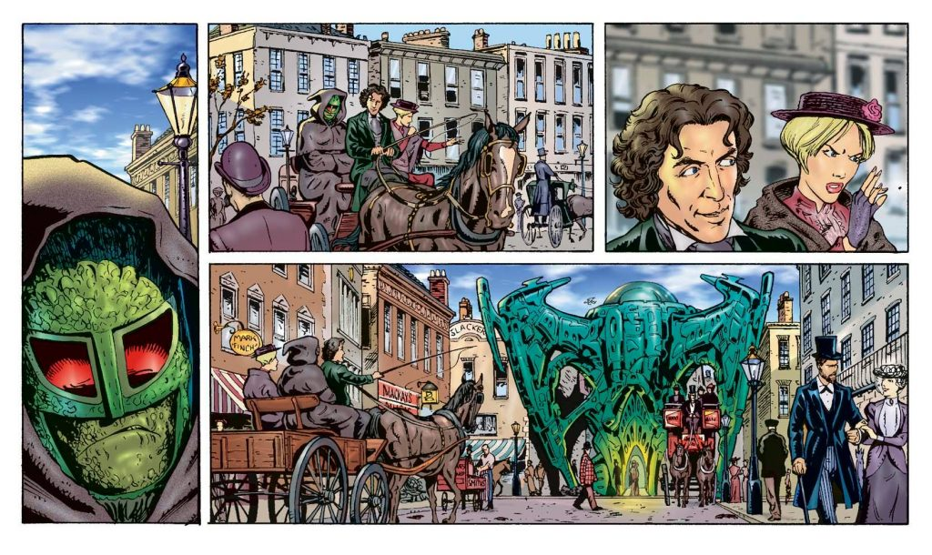 Art for an episode of the Doctor Who strip that ran in the Radio Times, scripted by Gary Russell, art by Lee Sullivan, colour by Alan Craddock
