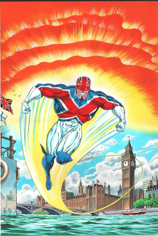 Captain Britain Autumn Special 1992 Cover - Pencils by Richard Elson, inks by Rodney Ramos, coloured by John Burns | Via S Smith on ComicArtFans