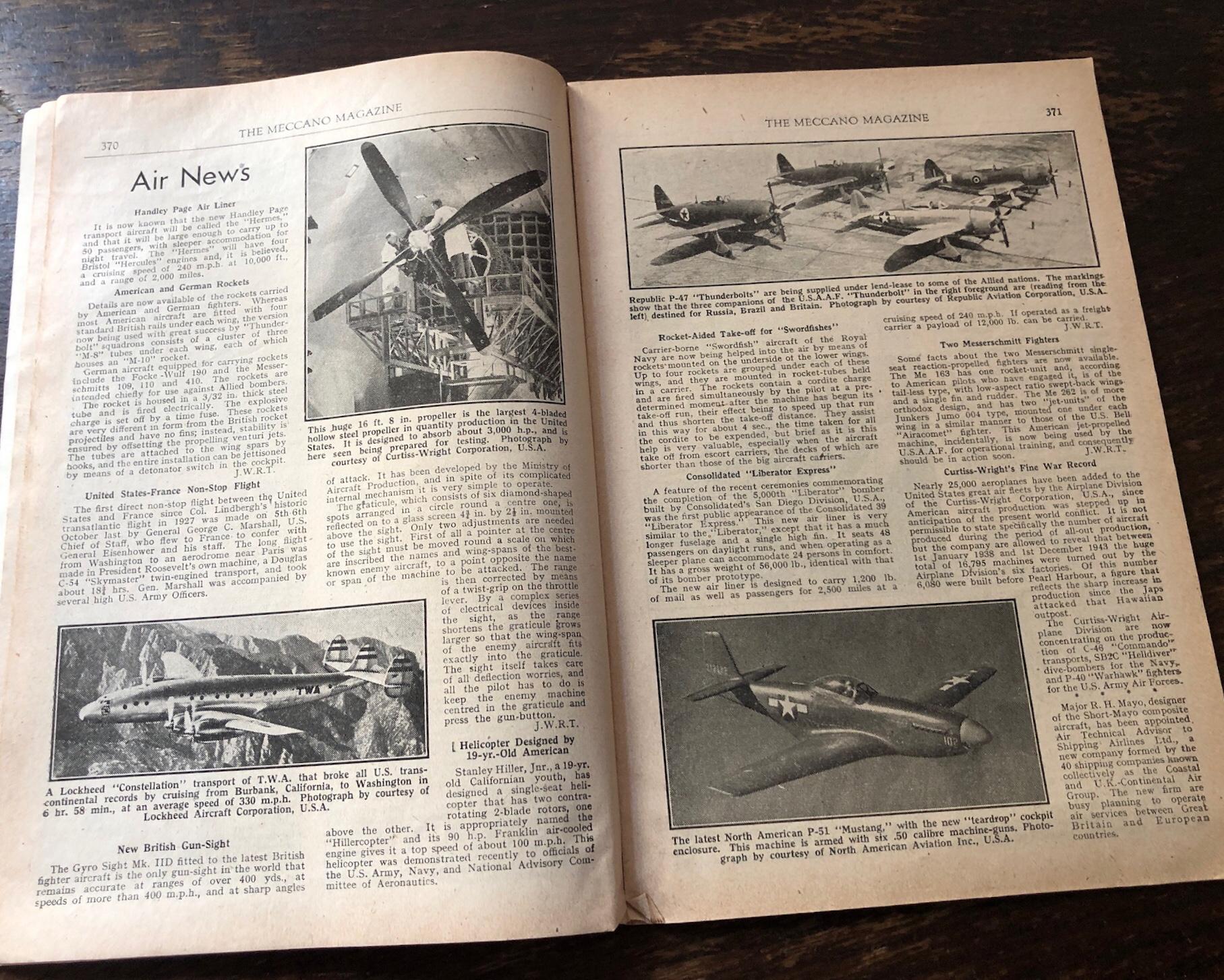 Meccano Magazine, November 1944 - Air News