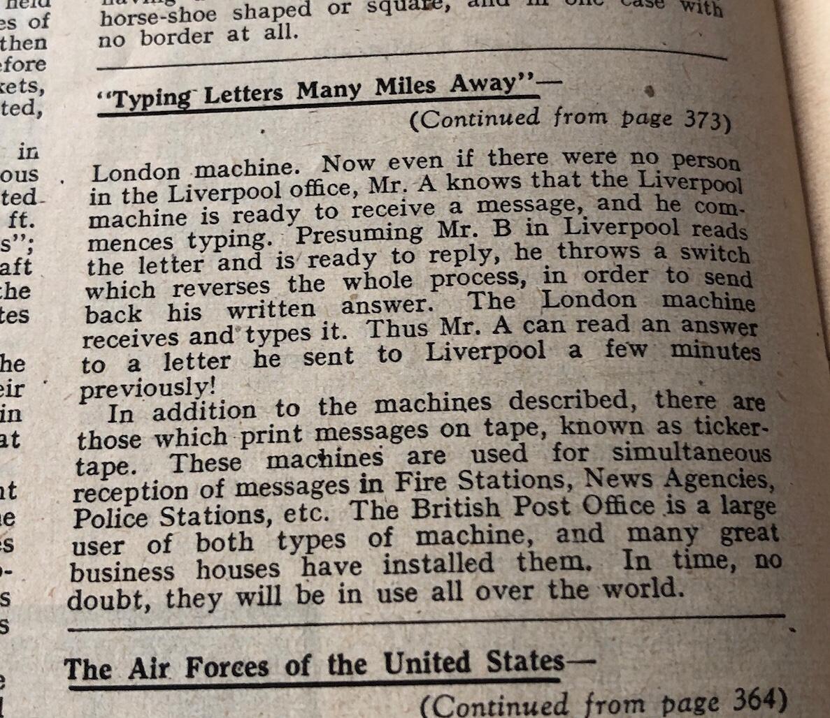 Meccano Magazine, November 1944 - Teleprinter Article